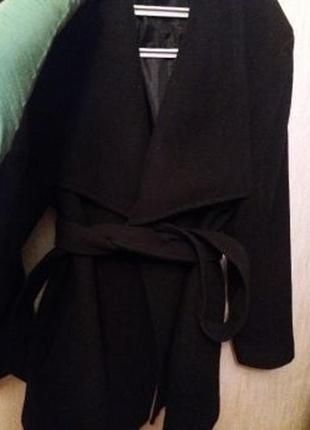 Пальто женское чёрное теплое