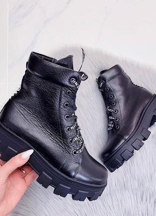 Ботинки (зима - эко мех) натуральная кожа черные на шнуровке