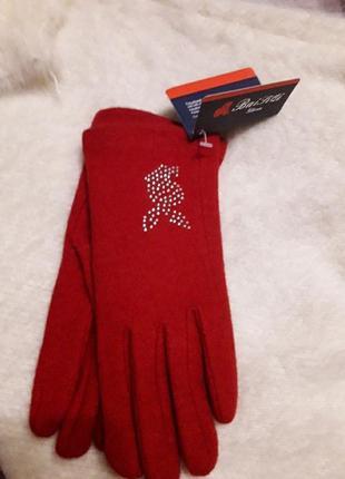 Эффектные брендовые шерстяные перчатки для подростка
