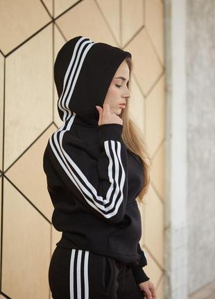 Спортивное худи женская толстовка теплая черные