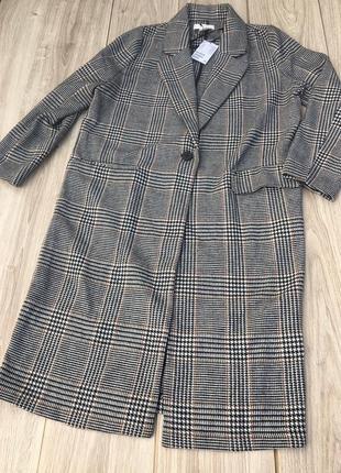 Стильное шерстяное классическое пальто h&m клетчатое в клетку гусиная лапка классика