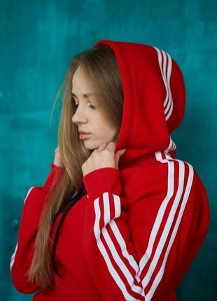 Спортивное худи женская толстовка теплая красная
