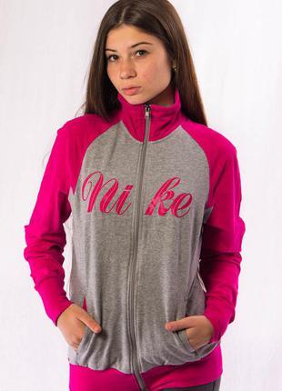 Олимпийка женская серо-розовая nike (xl)