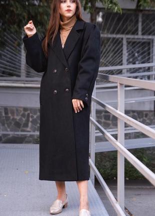 Брендовое шерстяное классическое двубортное пальто оверсайз длинное