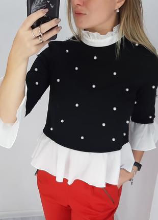 Shein очень красивая блуза с жемчугом