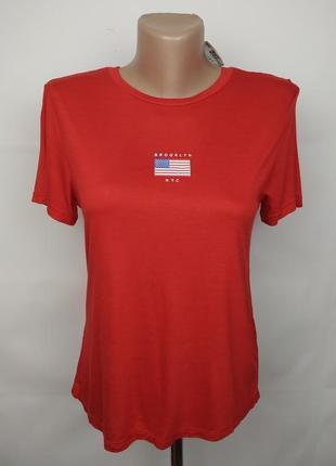 Футболка новая красная трикотажная с американским флагом h&m s