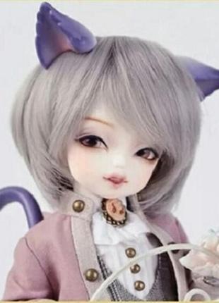Парик серого цвета серебристый искусственные волосы для куклы