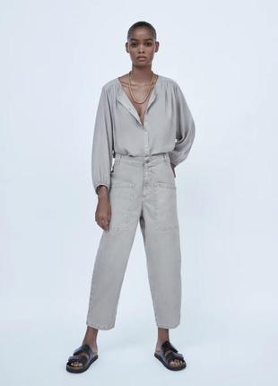 Серые широкие джинсы zara с карманами