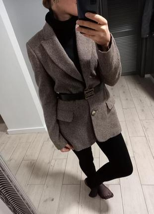 Шикарный удлинённый твидовый шерстяной шерсть + шелк пиджак жакет mango