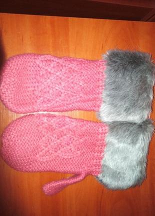 Супер варежки рукавицы вязанные с мехом искусственным