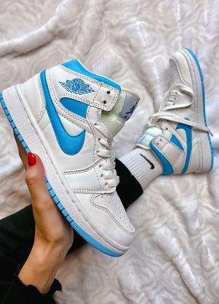 Кроссовки женские найк nike air jordan 1 retro high white blue