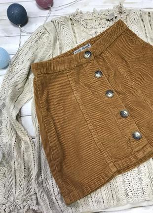Стильная вельветовая юбка на пуговицах denim co