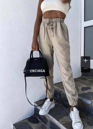 Женские штаны на резинке, высокая посадка