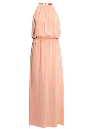 Длинное шифоновое платье пудрового цвета h&m