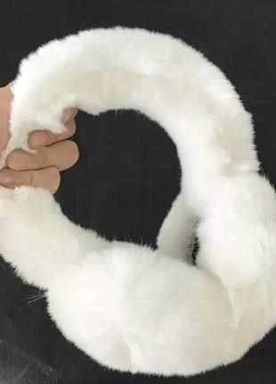 Белые пушистые меховые кролик наушники