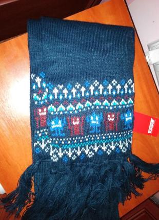 Детский шарф вязанный с узором акриловая нить