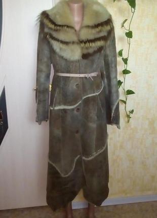 Богатая натуральная дубленка из овчины/шуба/пальто/плащ/дубленка/полушубок/куртка/пуховик