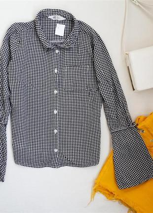 Рубашка новая в клетку с рукавом клеш h&m