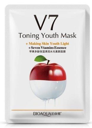 Маска для лица тканевая тонизирующая витаминная с экстрактом яблока bioaqua v7