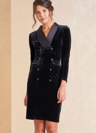 Двубортное велюровое платье - блейзер  s