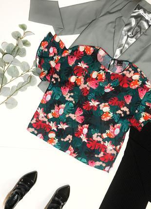 Шок-цена! ⚡️ стильная женская блуза под шифон с тропическими фруктами gina tricot р. s/44