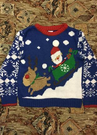 Смешной прикольный новогодний свитер с сантой и оленем mini club