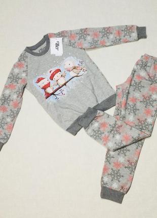 Утепленная хлопковая пижама ellen 017/003 (снежинки)