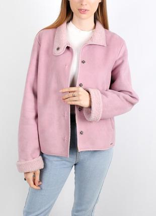 Розовая теплая куртка дубленка next