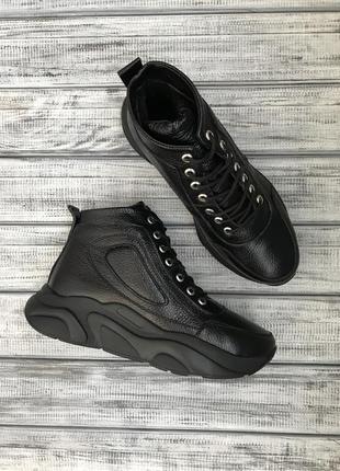 Кожаные кроссовки зимние демисезонные
