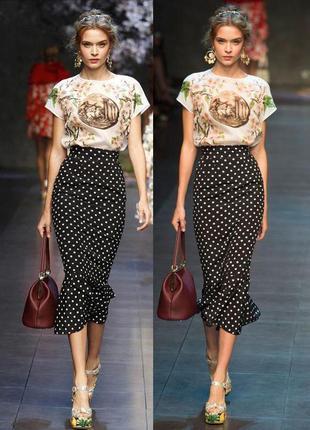 Комплект юбка в горошек миди русалка рыбка + топ в стиле dolce&gabbana с сайта asos