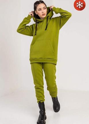 Женский спортивный костюм ride из зеленого трикотажа на флисе garne