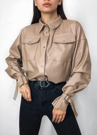 Рубашка из матовой кожи свободного кроя