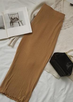 Юбка макси по фигуре  высокая посадка юбка в рубчик