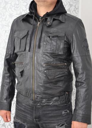Кожаная куртка очень круто смотрится two stoned ® real leather biker jacket