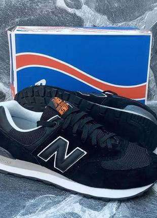 Мужские кроссовки new balance 574 черные,замшевые,осенние