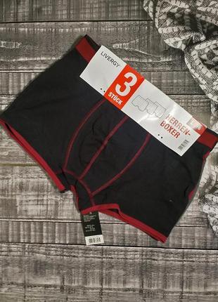 Комплект 3шт боксеры livergy германия  black/red/gray.