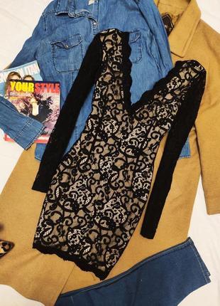 Missguided платье чёрное бежевое кружевное гипюр короткое