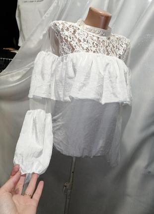 Шикарнейшая блуза велюр бархат кружево волан сетка