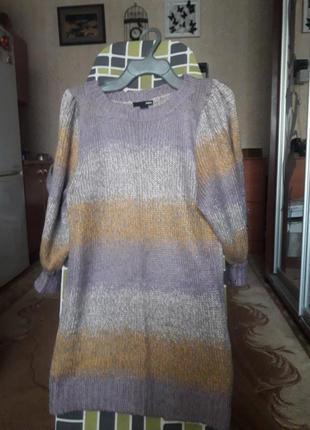 Удлиненный свитер, туника, в составе шерсть и мохер