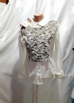 Блуза хлопок с эффектом мехового жилета