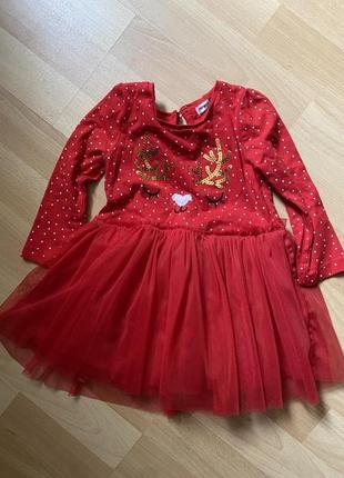 Красное новогодние платье на малышку pepco