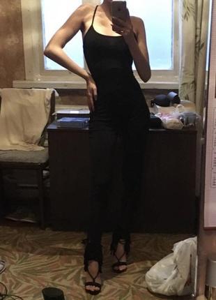 Комбинезон с брюками ромпер чёрный эффектный вечерний с открытой спиной