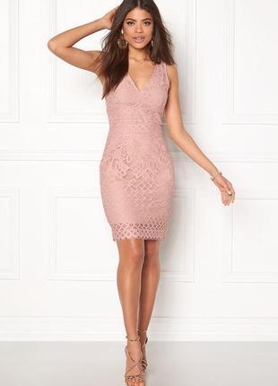 Платье розовое пудровое бежевое кружевное новое миди по фигуре карандаш футляр new look