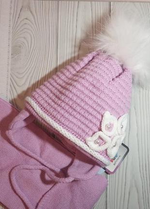 Шапка шарф зимний комплект набор сиреневый grans