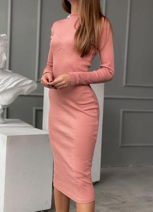 Платье с имитацией косточек под грудью