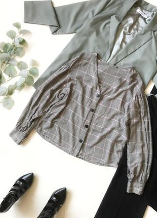 Шок-цена! ⚡️ трендовая рубашка в клетку в стиле пиджака bershka р.м