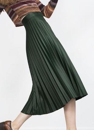 Плиссированная юбка zara , вискоза в составе