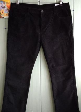 Джинсы черные вельветовые прямого фасона, размер 36/30