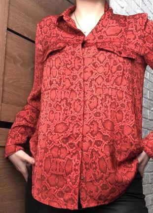 Рубашка/блуза  mango змеиный принт красная новая коллекция