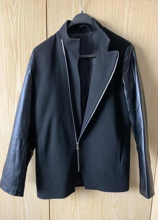 Куртка-пальто с кожаными рукавами